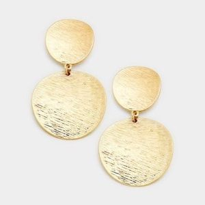 Jewelry - Textured Gold Tone Earrings